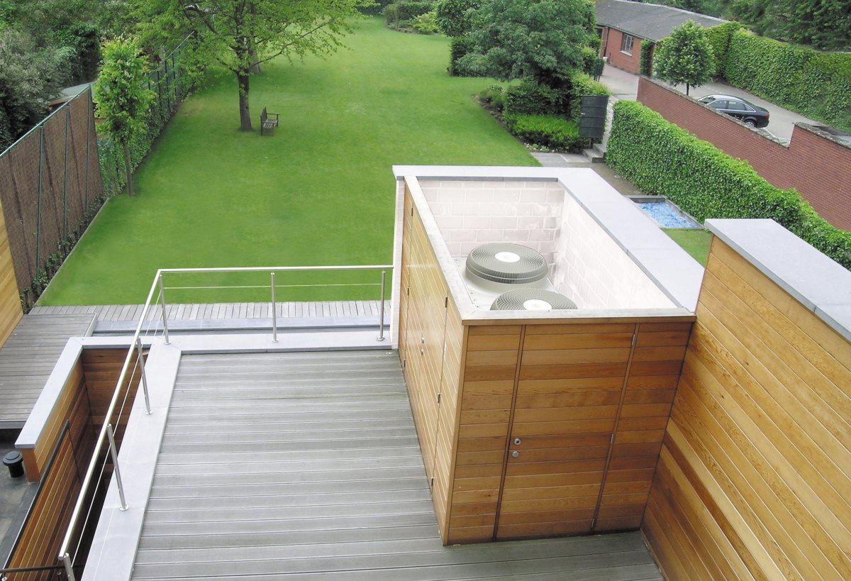 Verbo airconditioning buitenunit weggewerkt tuinhuis